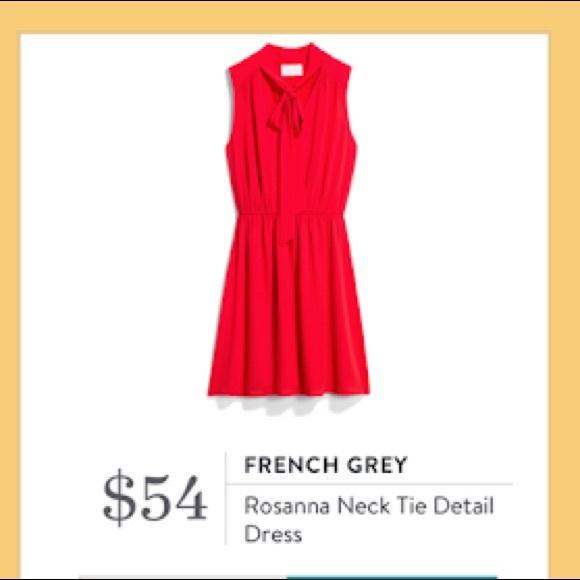 French Grey Neck Tie Detail Dress